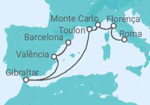 Itália, Mônaco, França, Gibraltar, Espanha